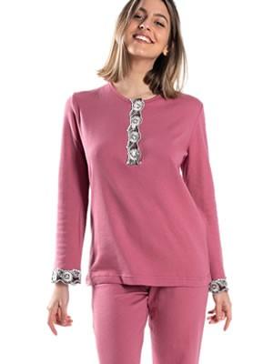 Πυτζάμα ΓΙΩΤΑ Homewear - 100% Βαμβακερή - Δαντέλα & Κουμπιά -Χειμώνας 2020/21
