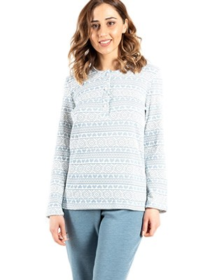Πυτζάμα ΓΙΩΤΑ Homewear - 100% Βαμβακερή - All Over Σχέδιο Καρδιές- Νέα Μαμά - Χειμώνας 2020/21