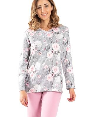 Πυτζάμα ΓΙΩΤΑ Homewear - 100% Βαμβάκι Interlock - Floral Σχέδιο & Κουμπιά - Χειμώνας 2020/21