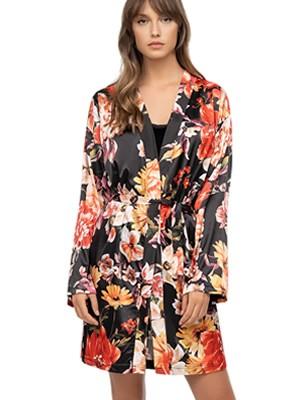 Ρόμπα ΓΙΩΤΑ Homewear - Απαλό Σατέν - Floral Σχέδιο - Χειμώνας 2020/21
