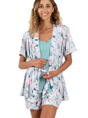 Πυτζάμα ΓΙΩΤΑ Homewear Set 3 Τεμαχίων - 100% Βαμβακερή -Floral Σχέδιο - Καλοκαίρι 2021