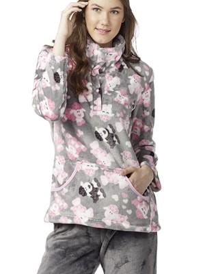 Πυτζάμα με Κουμπιά Γιώτα Homewear – Γεμάτο Fleece – All  Over Σχέδιο