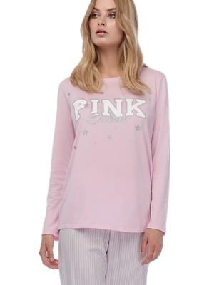 Πυτζάμα Γυναικεία MINERVA Pink Dream - 100% Βαμβάκι Interlock - Lurex Σχέδιο - Χειμώνας 2019/20