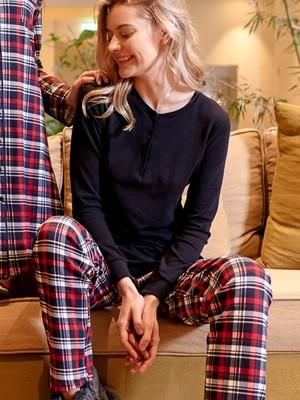 Πυτζάμα Γυναικεία HARMONY - 100% Βαμβακερή - Καρό Σχέδιο & Κουμπιά - Χειμώνας 2020/21