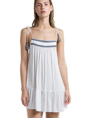Harmony Αέρινο Φόρεμα - Σχέδιο Κέντημα & Φούντες
