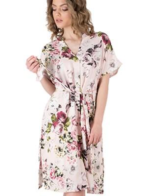 Ρόμπα HARMONY - Αέρινο Ύφασμα Σατέν Viscose - Floral  Σχέδιο & Κουμπιά - Καλοκαίρι 2019