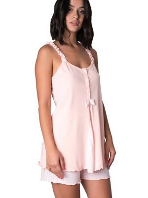 Πυτζάμα Γυναικεία Kare - Αέρινο Ύφασμα - Βολάν & Καρό Παντελόνι