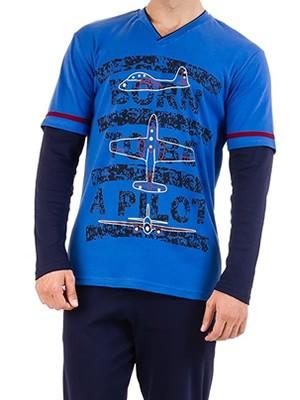 KARE Ανδρική Πυτζάμα Homewear - 100% Βαμβακερή - Σχέδιο Μεταξοτυπίας - Stay Home 2020