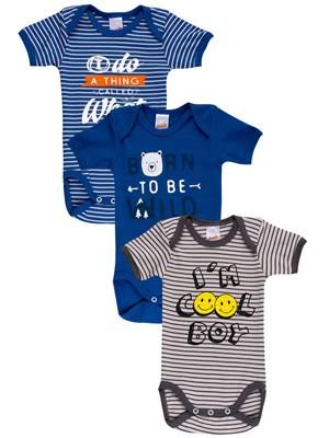 Βρεφικά Κορμάκια MINERVA για αγόρι Cool - 100% Βαμβάκι - 3 Pack - Χειμώνας 2020/21