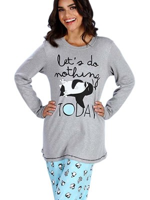 Πυτζάμα Γυναικεία Minerva Penguin - 100% Βαμβάκι Interlock - All Over Σχέδιο - Hot Pick 18-19