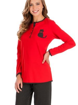 Πυτζάμα Γυναικεία Minerva Cat Dots - 100% Interlock Βαμβάκι - Νέα Μαμά - Χειμώνας 2018/19