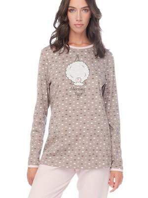 MINERVA Πυτζάμα Γυναικεία Sheep's Yoga - 100% Βαμβάκι Interlock - All Over Σχέδιο - Smart Choice FW20/21