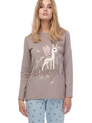 Πυτζάμα Γυναικεία MINERVA Dream Deer - 100% Βαμβάκι Interlock - All Over Σχέδιο - Smart Choice FW20/21