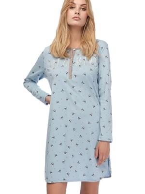 Γυναικείο Νυχτικό MINERVA Dreaming- 100% Bαμβάκι Interlock -All Over Σχέδιο - Νέα Μαμά - Smart Choice FW20/21