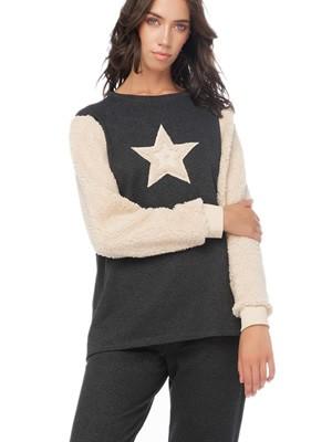 Πυτζάμα Γυναικεία Φούτερ MINERVA Star - Γούνινο Σχέδιο - Extra Ζεστή - Χειμώνας 2019/20