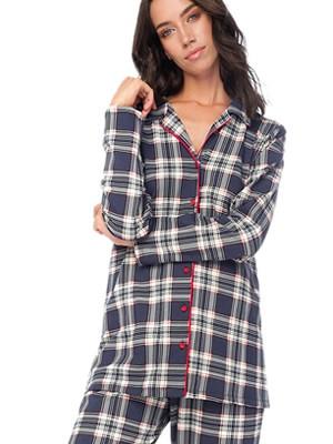 Πυτζάμα Γυναικεία MINERVA - 100% Βαμβάκι Interlock - Καρό Σχέδιο & Κουμπιά - Back To School FW20/21