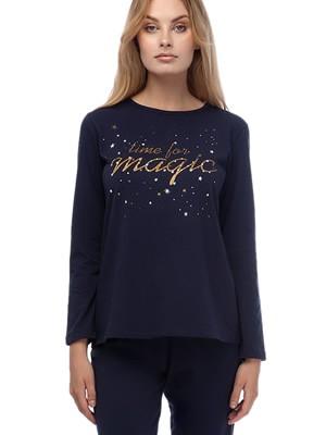 Πυτζάμα Γυναικεία MINERVA Time For Magic - 100% Βαμβάκι Interlock - Glitter Σχέδιο - Χειμώνας 2019/20