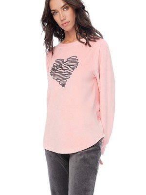 MINERVA Γυναικεία Πυτζάμα Heart - Απαλό Βελούδο - Σχέδιο Κέντημα - Smart Choice FW20/21