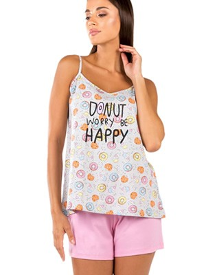 Γυναικεία Πυτζάμα MINERVA Donuts - 100% Βαμβακερή - Smart Choice SS21
