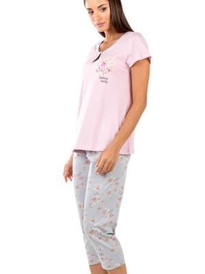 Γυναικεία Πυτζάμα MINERVA Floral - Κάπρι Παντελόνι - 100% Βαμβακερή - Smart Choice SS21