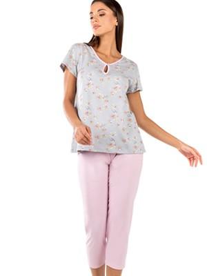 Γυναικεία Πυτζάμα MINERVA Floral - Κάπρι Παντελόνι- 100% Βαμβακερή - Smart Choice SS21