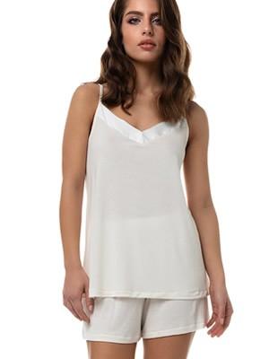 Γυναικεία Πυτζάμα MINERVA Loungewear - Αέρινο Modal & Βαμβάκι - Σατέν Λεπτομέρειες