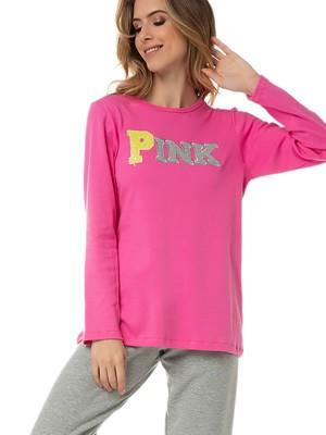 Πυτζάμα Γυναικεία MINERVA PINK - 100% Βαμβάκι Interlock - Σχέδιο Κέντημα - Χειμώνας 2020/21