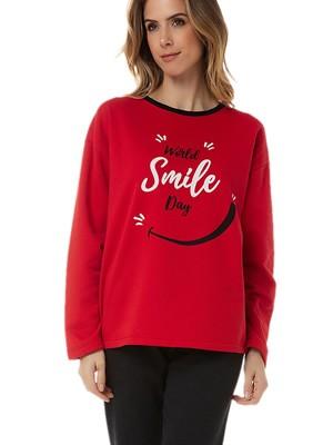 Πυτζάμα Γυναικεία MINERVA Φούτερ Smile - Extra Ζεστή - Χειμώνας 2020/21