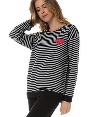 Πυτζάμα Γυναικεία MINERVA Stripes Heart- Ζεστό Βαμβάκι Φούτερ - Χειμώνας 2020/21