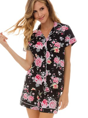 Γυναικεία Πυτζάμα MINERVA - 100% Βαμβακερή - Floral Σχέδιο & Κουμπιά - Καλοκαίρι 2021