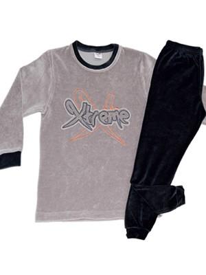 Παιδική Πυτζάμα Minerva X-Treme για αγόρι - Βελουτέ - Σχέδιο-Κέντημα - Hot Pick 18/19
