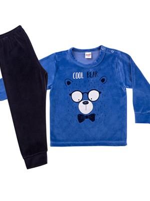 Βρεφική Πυτζάμα MINERVA Cool Bear για αγόρι - Απαλό Βελούδο - Χειμώνας 2020/21