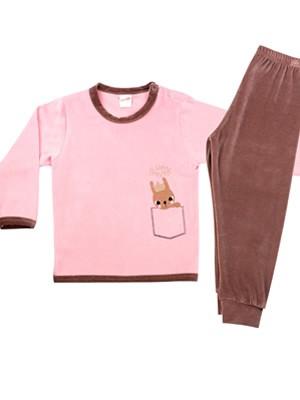 Βρεφική Πυτζάμα MINERVA Rabbit για κορίτσι - Απαλό Βελούδο - Χειμώνας 2020/21