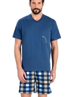 Minerva Αντρική Πυτζάμα Bed Soul - 100% Βαμβάκι - Καρό Παντελόνι - Καλοκαίρι 2018
