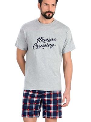 Minerva Αντρική Πυτζάμα Marine Cruising - 100% Βαμβάκι - Σχέδιο Κέντημα - Καλοκαίρι 2018