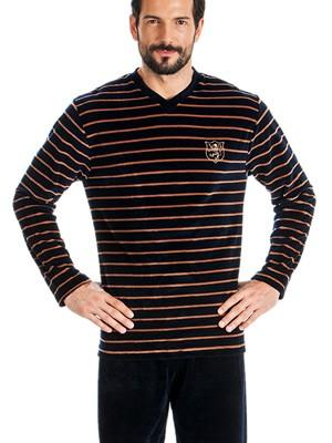 Ανδρική Πυτζάμα Πολυτελείας Minerva Velvet Stripes -  Βελούδο
