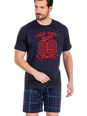 Πυτζάμα Ανδρική MINERVA New York 89 - 100% Βαμβάκι - Καρό Παντελόνι - Καλοκαίρι 2019