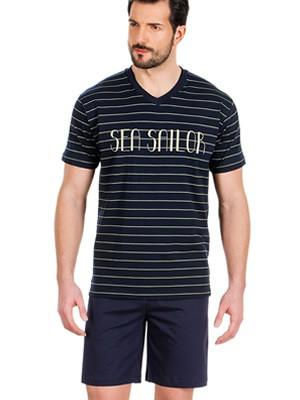 Αντρική Πυτζάμα MINERVA Stripes Sea Sailor - 100% Βαμβακερή - Καλοκαίρι 2019