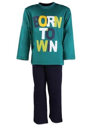Παιδική - Εφηβική Πυτζάμα Minerva BORN TO WIN - 100% αγνό βαμβάκι Interlock Πράσινο