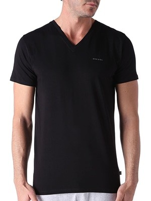 Diesel OQAHE Ανδρικά T-Shirt - Ελαστικό Βαμβάκι - Σχήμα V - 2 Τεμάχια