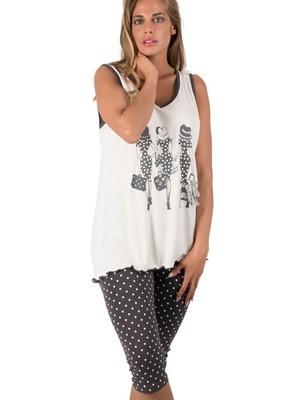Πυτζάμα Γυναικεία Rodi - 100% Βαμβακερή - Dots Πουά - Strass & Πέρλες - Καλοκαίρι 2019