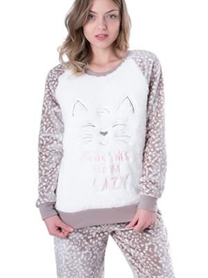 Πυτζάμα Homewear Vienetta - Ζεστό Fleece - Γούνινη Διακόσμηση - Χειμώνας 2018/19