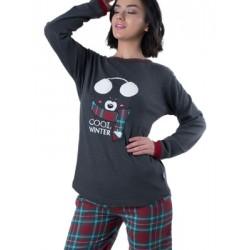 Γυναικεία Πυτζάμα Apple - Σχέδιο Κέντημα & Καρό Παντελόνι - Χειμώνας 2018/19