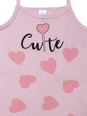 Παιδική Φανέλα MINERVA Cute Hearts με Λεπτή Τιράντα - για κορίτσι - 100% Αγνό Βαμβάκι