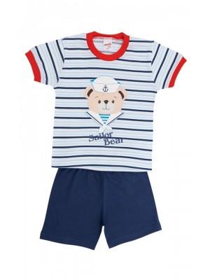 Βρεφική Πυτζάμα Minerva Sailor Bear  για αγόρι  - 100%  Οικολογικό Βαμβάκι