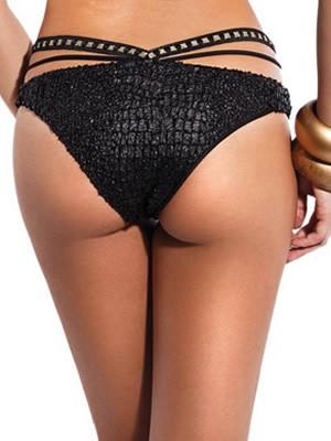 Μαγιό Bluepoint CROCODILE Brasil Μπικίνι - Ψηλό - Leather Look  - Λωρίδες