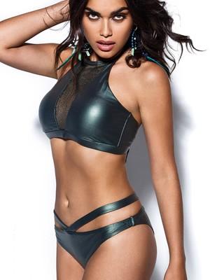 Μαγιό Bluepoint Brazilian Bikini Wild Plum - Μεταλιζέ Leather Look & Λωρίδες