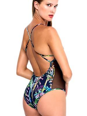 Μαγιό BLU4U Ολόσωμο Sheer Tropics - Ενίσχυση & Διαφάνεια - Bikini Κοφτό