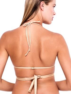 Μαγιό Blu4u Τρίγωνο με Ενίσχυση Pure Gold - Μεταλιζέ Leather Look & Λωρίδες