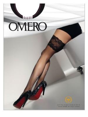 OMERO Κάλτσα - Καλτσοδέτα Πολυτελείας ROSE Διάφανο με Σχέδιο Πίσω - Φαρδιά Δαντέλα